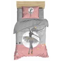 Παπλωματοθήκη μονή 160x250 Ροζ- γκρι με μαξ/κη σχ. Dancing girl