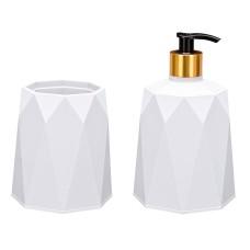 Σετ μπάνιου 2 τεμαχίων πλαστικό σχ. Polygon λευκό Νο577